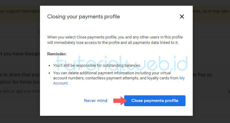 Cara Menghapus Akun Adsense pada gmail 5 Close Payments Profile