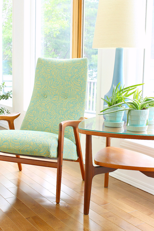 Yngve Ekstrom Mingo Chair Reupholstered in Mint Fabric