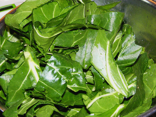 Chard prepared for cooking. Prepared and photographed by Susan Walter.