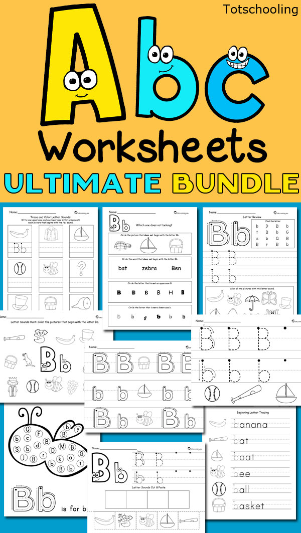 Huge 400+ page bundle of ABC worksheets, perfect for pre-k and kindergarten kids to learn their letter sounds, letter formation and practice tracing and writing each letter.
