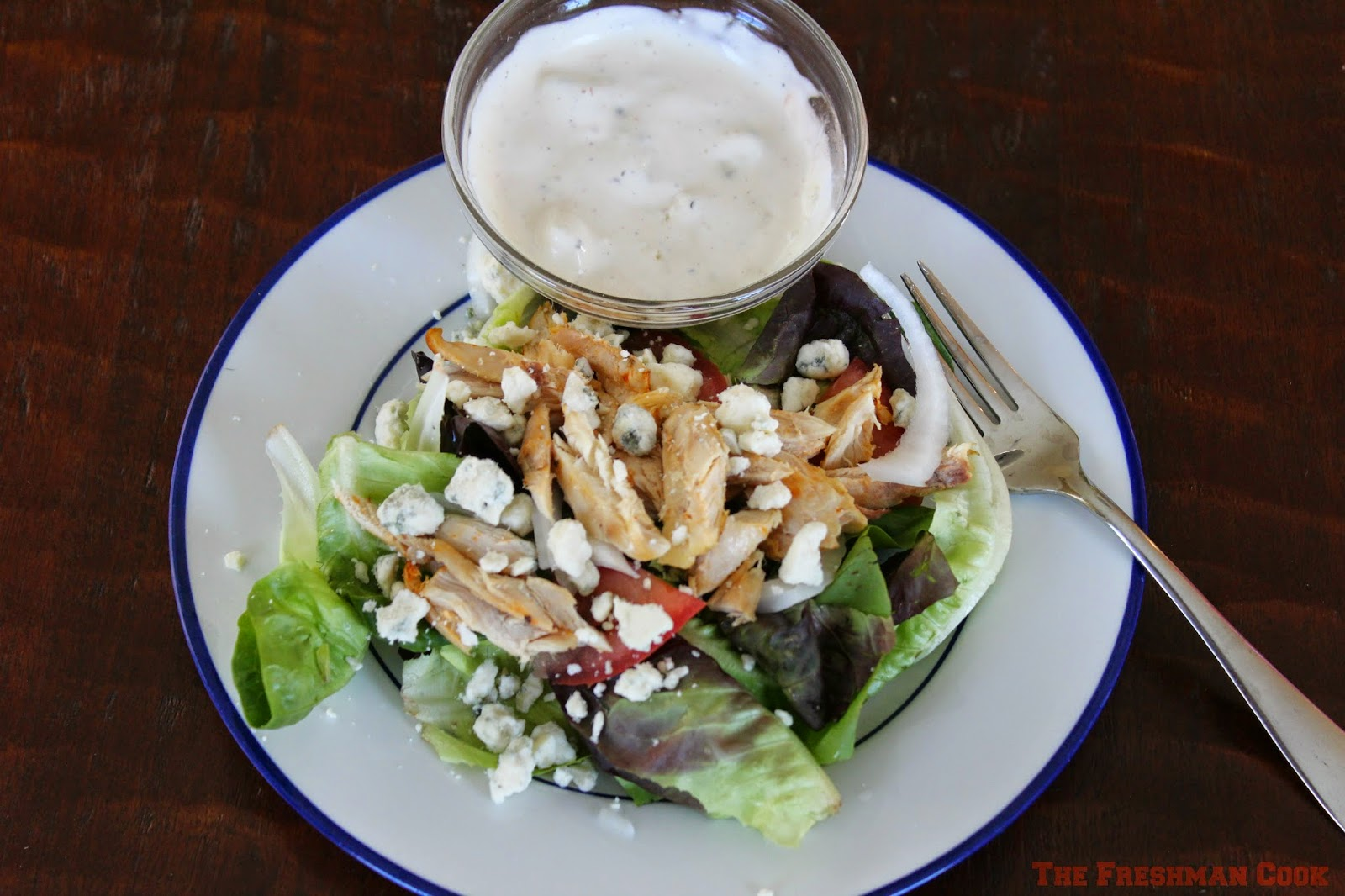 buffalo wing, salad, veggie salad, blue cheese and ranch dressing