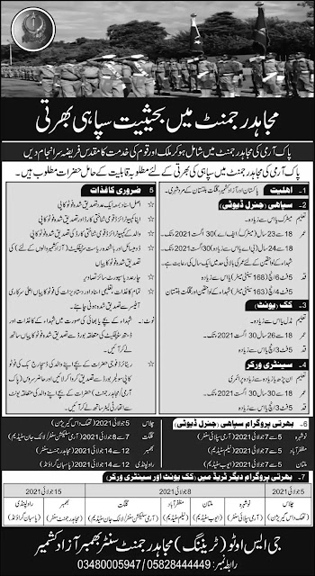 Pakistan Army Mujahid Force Jobs 2021