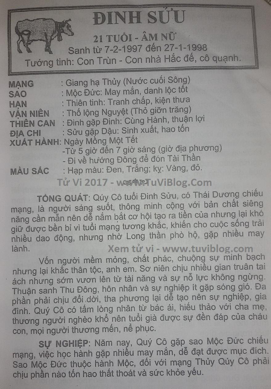 Tu vi 2017 Dinh Suu