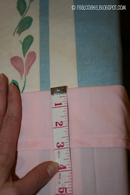 measuring for band at top of pillowcase