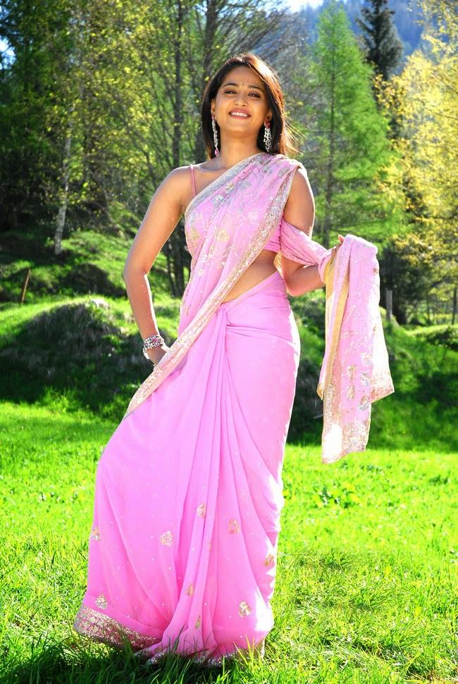 Kollywood Actress Anushka Shetty Spicy Hip Navel Show Photos In Pink Saree
