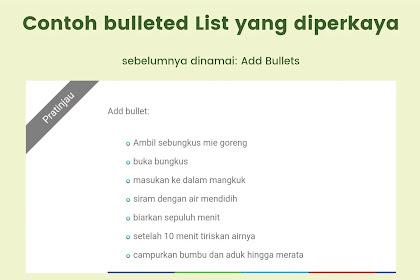 Cara memodifikasi tampilan Bulleted List dan Numbered List di halaman blog