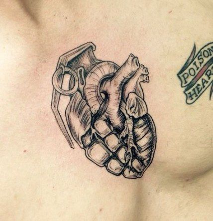 Heart tattoo on chest men