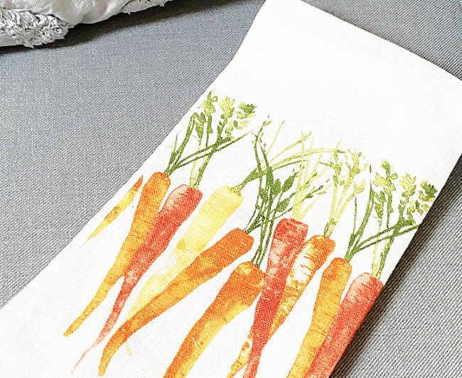 DIY Tea Towel Carrot Pillow with Tassels