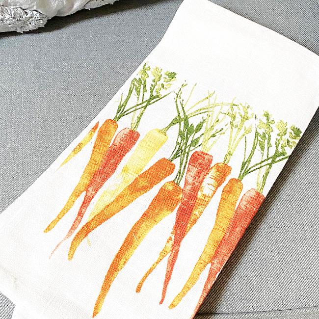 DIY Tea Towel Carrot Pillow with Tassels