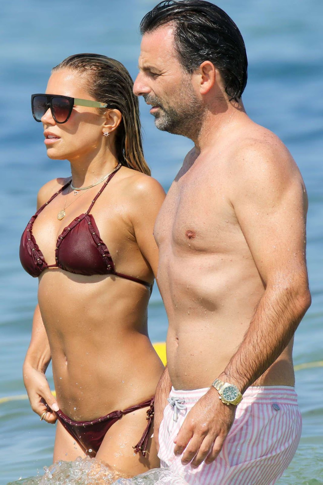 Sylvie Meis in Bikini on the Beach in Saint Tropez