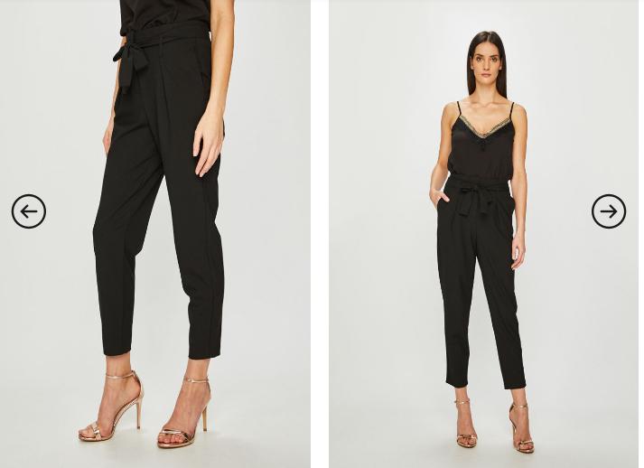 Pantaloni casual-eleganti conici negri peste glezna negri ieftini - Only