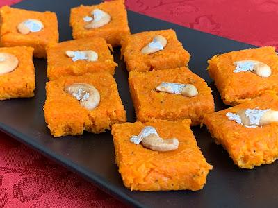 carrots, sweet treats, whole milk powder, sugar, Gajar Burfi