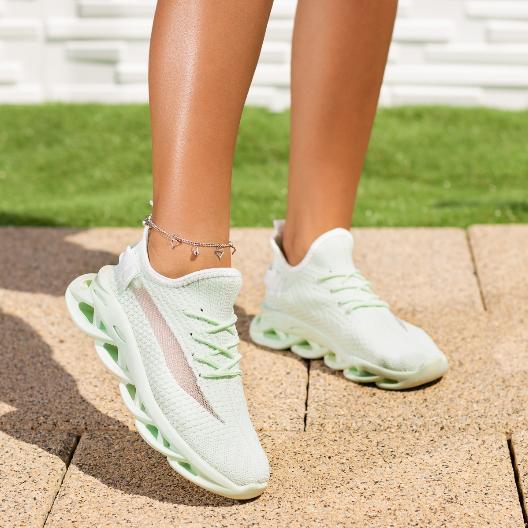 Adidasi dama verde menta din material textil cu talpa moderna