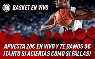 sportium Promo Basket En Vivo: Por cada 20€ ¡Te damos 5€! 18-24 marzo
