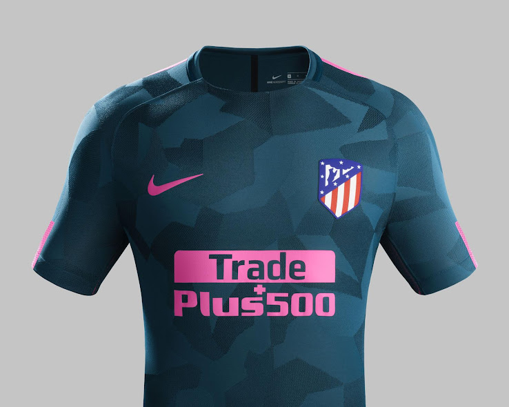 09c45a6e9 The Atletico Madrid 17-18 Third shirt is predominantly 'Space Blue'. In  line with Nike's other 2017-2018 Third strips for the brand's biggest  clubs, ...
