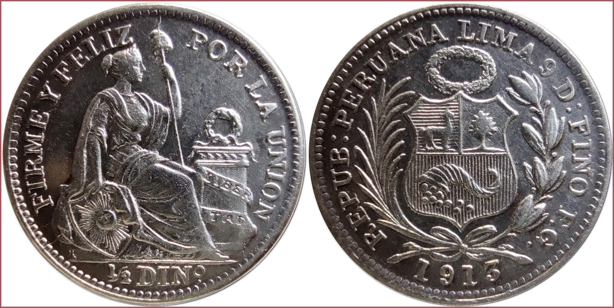 1/2 dinero, 1913: Republic of Peru