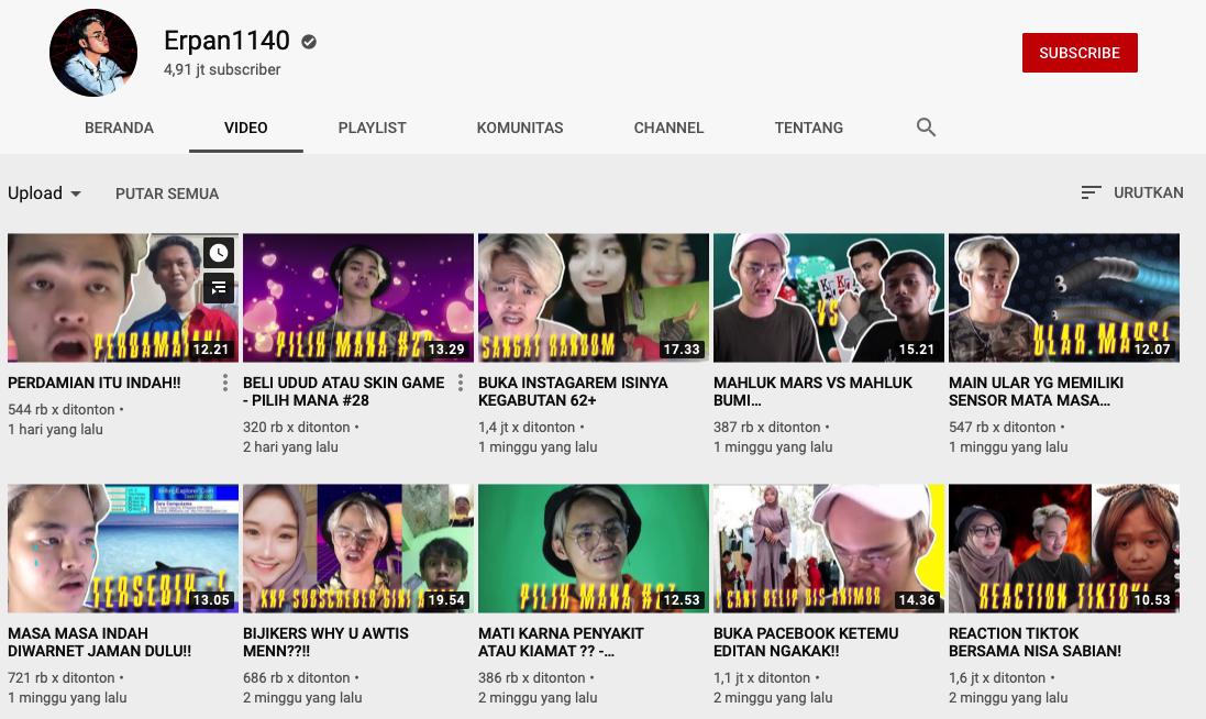 Youtuber Erpan1140 Keren Gaming Kaya