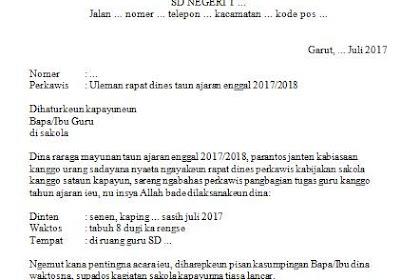 Contoh Surat Undangan Rapat Dinas Di Sekolah Menggunakan