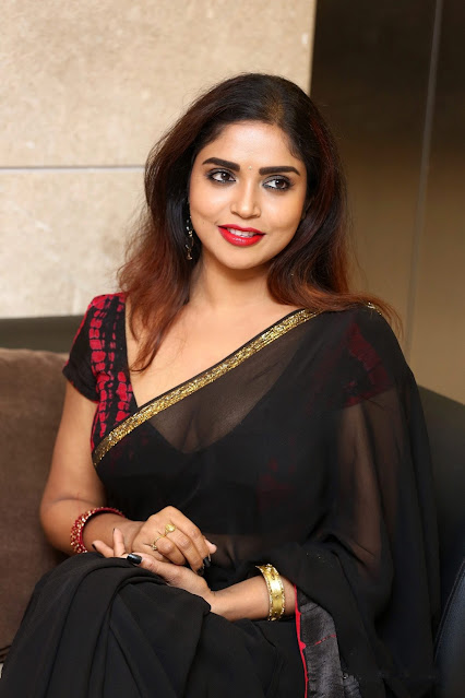 Actress Karunya Chowdary hot saree stills at 3 Monkeys Pre-Release Event Navel Queens