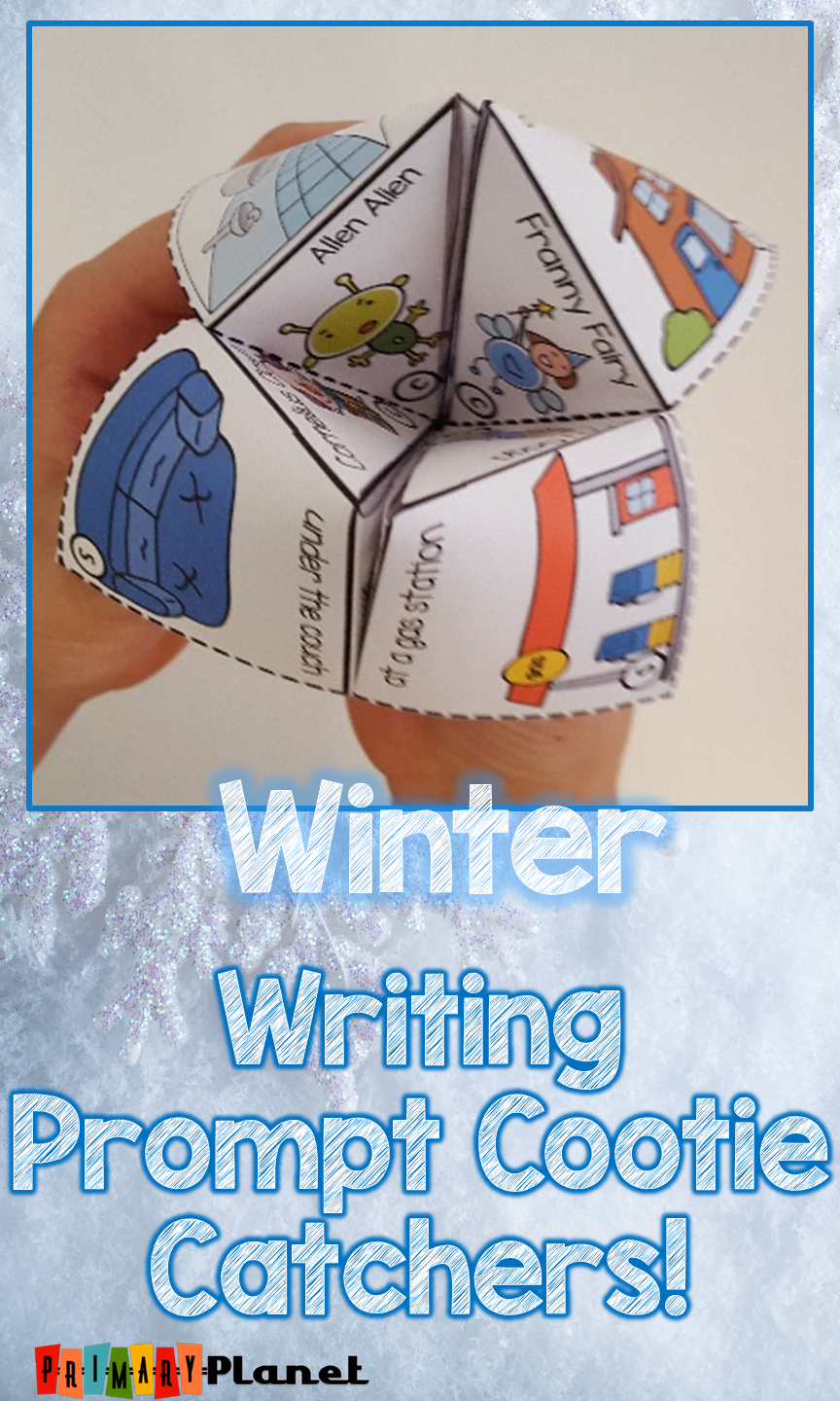 Looking for winter writing activities?  These winter writing prompt cootie catcher ideas will get your kiddos writing this winter!  Elementary students love these fun fortune teller prompts.