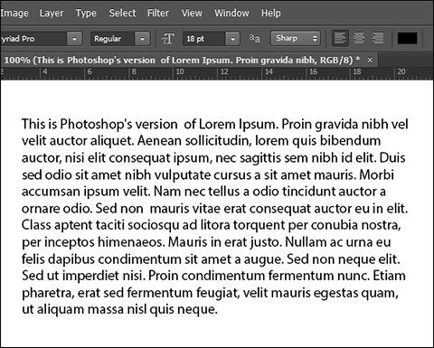 Paragraph filled with Lorem Ipsum text in Photoshop CS6