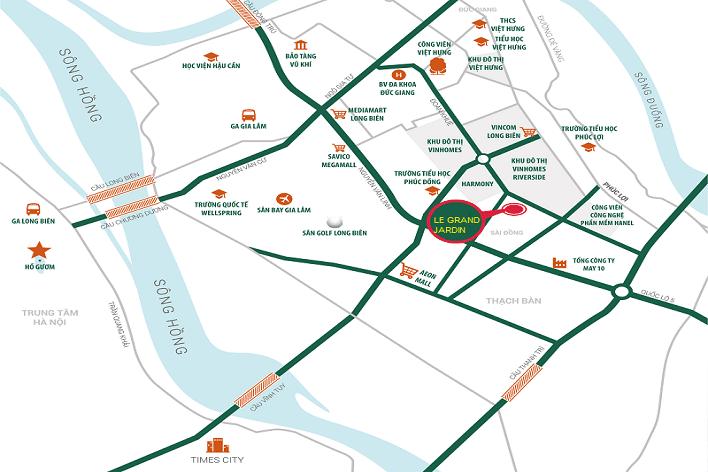 Vị trí chính xác của chung cư Le Grand Jardin Sài Đồng ở đâu ?