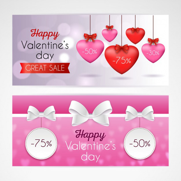 Realistic valentine's day sale banners Free Vector