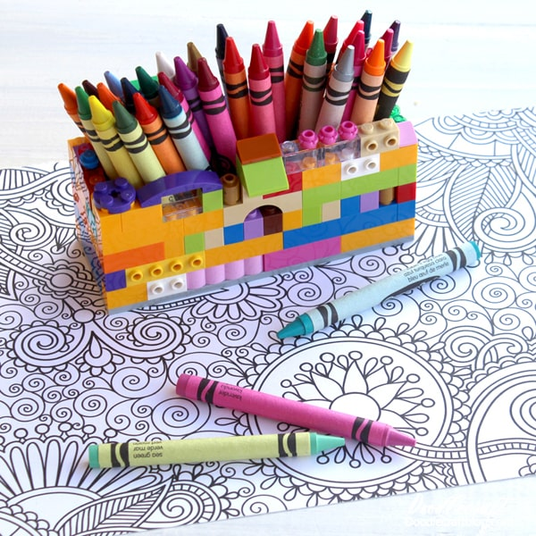 How to build a Lego crayon caddy to organize the desk for coloring.