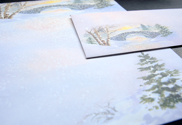 Upclose photo of the Winter Morn Letter Paper and matching envelope from Idea Art.