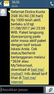 Paket Internet Telkomsel 2GB Rp 1000