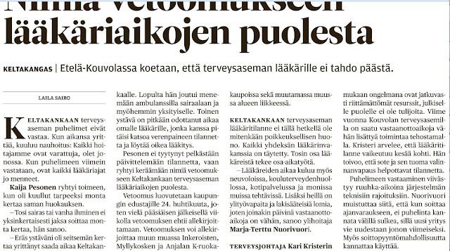 Pekka Korpivaara Keltakankaan asukkaiden vetoomus lääkäriaikjen paremman saatavuuden puolesta