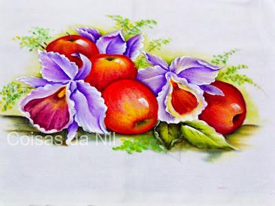 pintura de maças e orquideas
