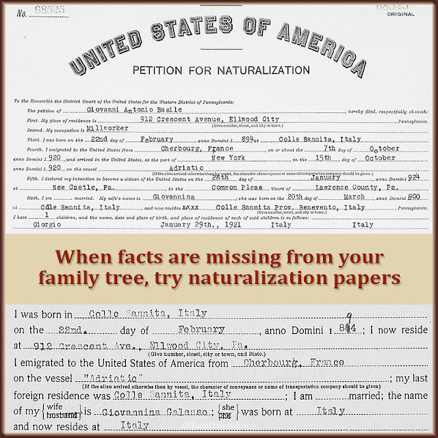 If you can find your ancestor's naturalization papers, you'll find a ton of facts.