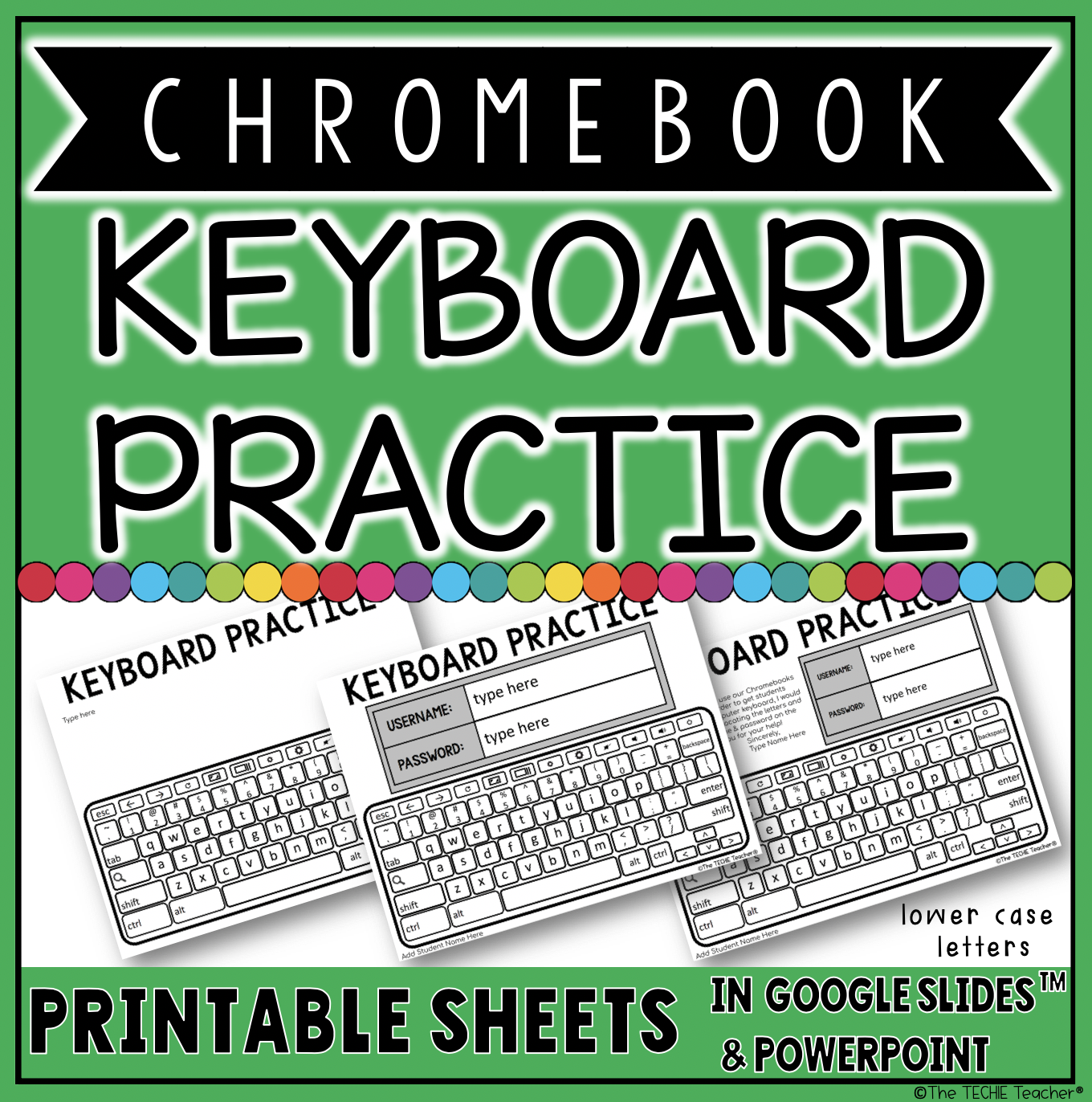Chromebook Keyboard Practice: These printable sheets were created to help students practice their login information and to get acquainted with the Chromebook keyboard. Add whatever information you would like to these pages, print and send home with students to practice.