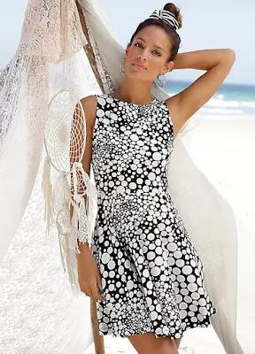Black Cotton Printed Beachtime Dress