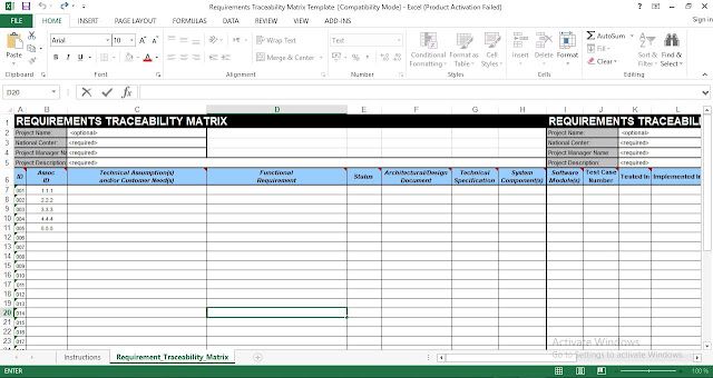 Requirements Traceability Matrix Template in Excel