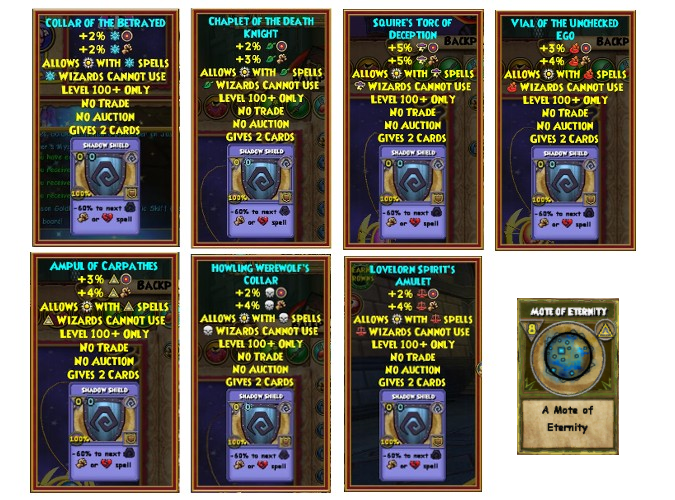Wizard101 Darkmoor level 100 mastery amulets and mote of eternity drop location