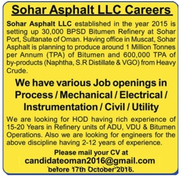 Overseas opportunities in Sohar Asphalt LLC | Oman | Process