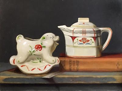 1950s pottery, piggy pitcher, german pottery, german teapot
