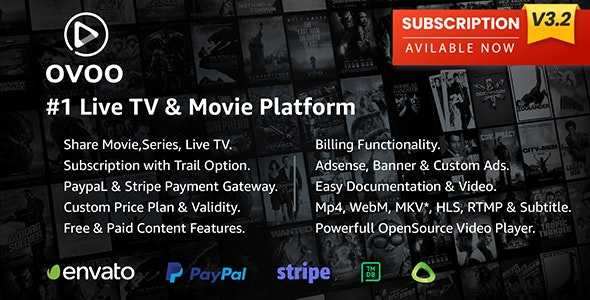OVOO v3.2.0 - Live TV & Movie Portal CMS with Membership System