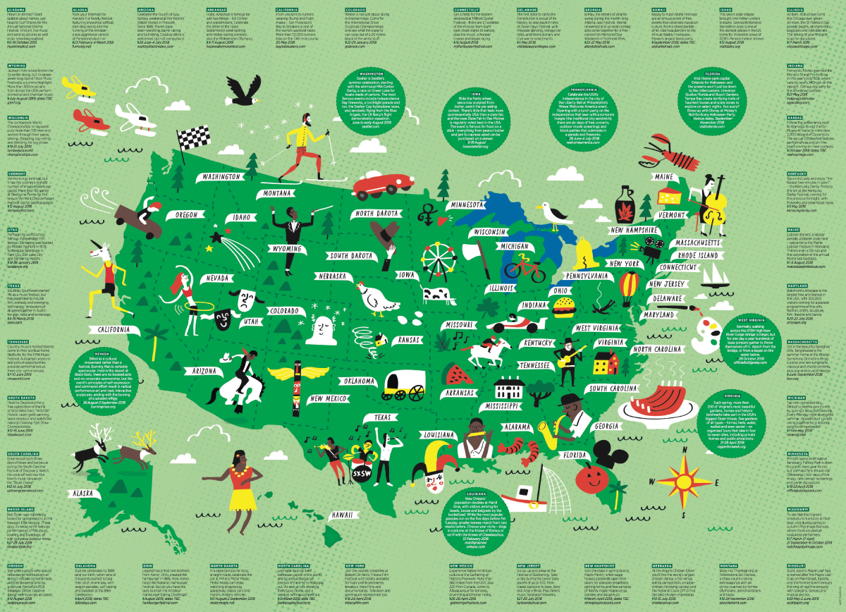 Map Of Uk Festivals.I Draw Maps Illustrated Map Of Us 2018 Festivals For The Daily