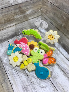 elaborately decorated cookies in spring shapes like birds, butterflies, ladybugs, flowers,frogs, and grasshoppers