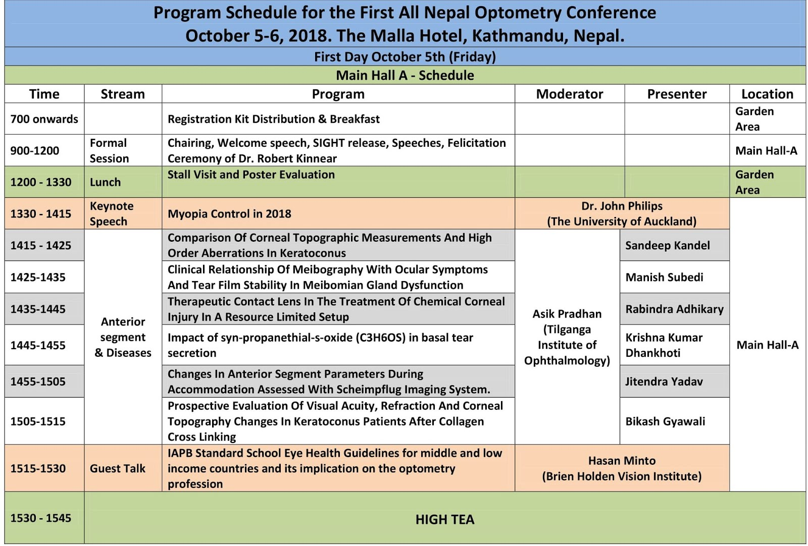 All nepal optometry conference schedule