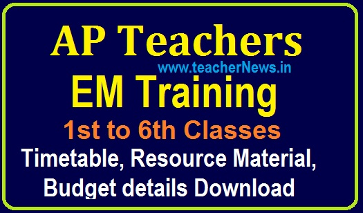 AP Teachers EM Training for 1 to 6th Classes from 2020-21  Timetable, resource material, budget details