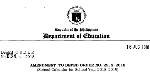 amendment to deped order no 25 s 2018 school calendar for school year 2018 2019