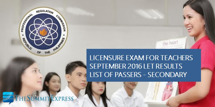 September 2016 LET Results: Alphabetical List of Passers Secondary