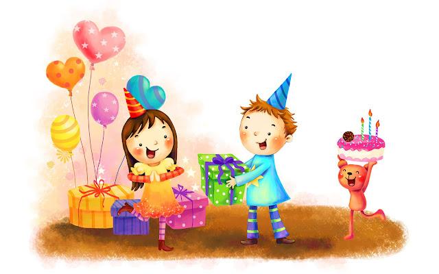 afbeelding kinderen ballonnen cadeautjes
