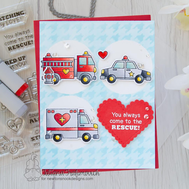 Come to the Rescue Valentine card by Tatiana Trafimovich | Love Emergency Stamp Set, Houndstooth Stencil, Heart Frames Die Set and Slimline Masking Circles & Squares Stencil Set by Newton's Nook Designs
