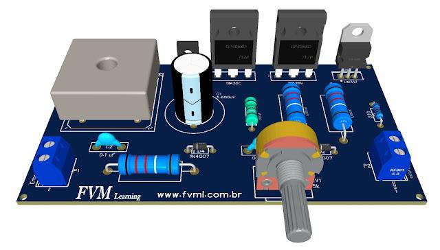 Fonte Ajustável 1,2V à 37V, 6A, com Proteção Contra Curto-Circuito com LM317 e TIP36 + PCI