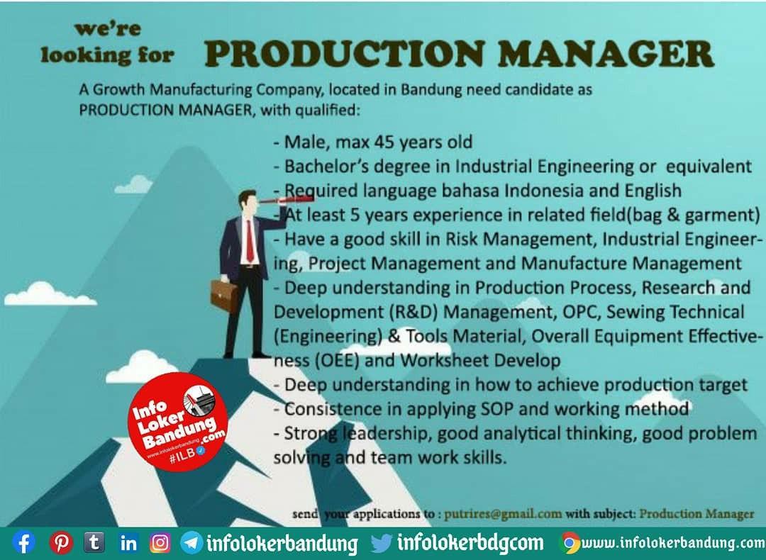 Lowongan Kerja Production Manager Bandung Oktober 2020